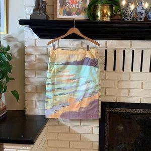 Kevin O'Brien print skirt. Rare!
